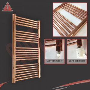 """600mm (w)  x 1200mm (h) Electric """"Copper"""" Towel Rail (Single Heat or Thermostatic Option)"""