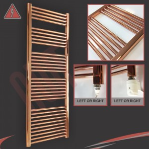 """600mm (w)  x 1600mm (h) Electric """"Copper"""" Towel Rail (Single Heat or Thermostatic Option)"""