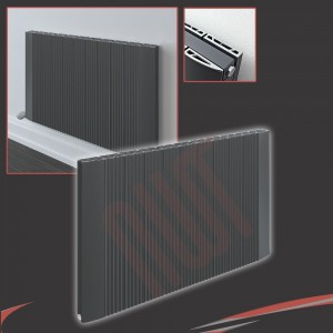 "1030mm (w) x 500mm (h) ""Cariad"" Double Panel Anthracite Horizontal Aluminium Radiator (22 Extrusions)"