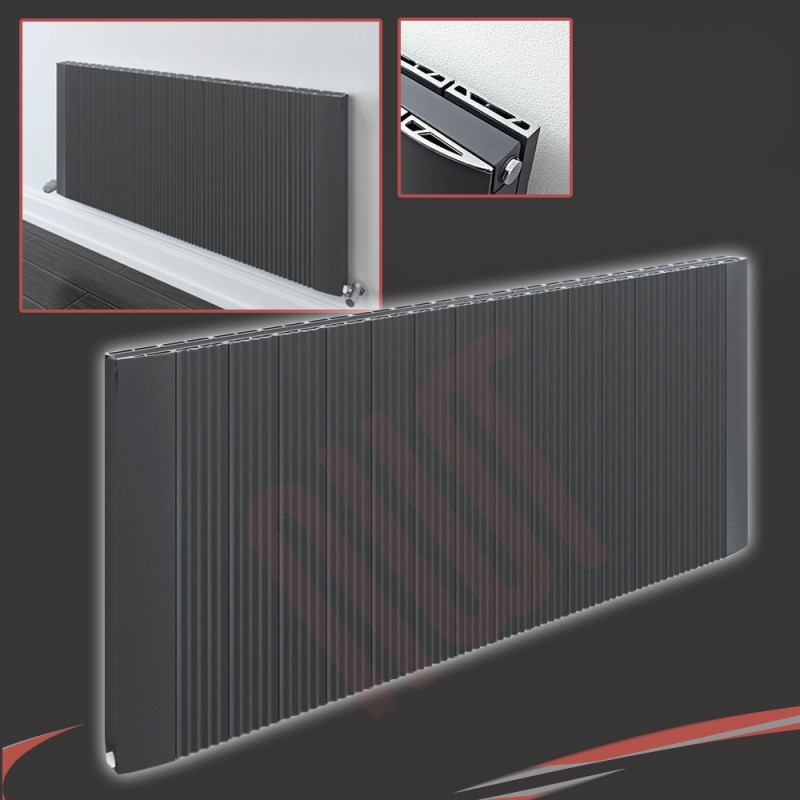 "1500mm (w) x 500mm (h) ""Cariad"" Double Panel Anthracite Horizontal Aluminium Radiator (32 Extrusions)"