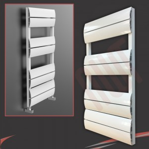 "500mm (w) x 1000mm (h) ""Wave"" White Single Aluminium Towel Rail (8 Extrusions)"