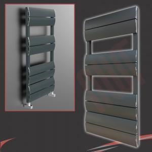 "500mm (w) x 1000mm (h) ""Wave"" Anthracite Single Aluminium Towel Rail (8 Extrusions)"