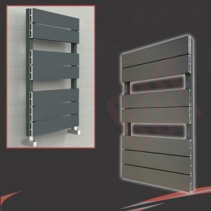 "500mm (w) x 800mm (h) ""Flow"" Anthracite Single Aluminium Towel Rail (7 Extrusions)"