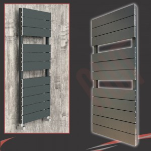 "500mm (w) x 1200mm (h) ""Flow"" Anthracite Single Aluminium Towel Rail (13 Extrusions)"