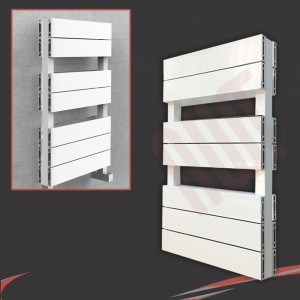 "500mm (w) x 800mm (h) ""Flow"" White Double Aluminium Towel Rail (14 Extrusions)"