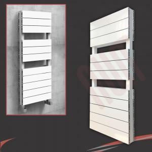 "500mm (w) x 1200mm (h) ""Flow"" White Double Aluminium Towel Rail (22 Extrusions)"