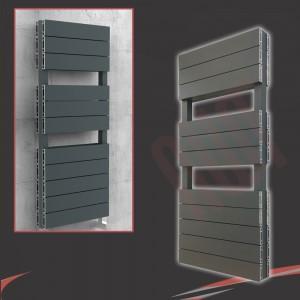 "500mm (w) x 1200mm (h) ""Flow"" Anthracite Double Aluminium Towel Rail (22 Extrusions)"