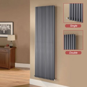 "Ultraheat ""Klon"" Designer Anthracite Single & Double, D-Profile Vertical Radiators"