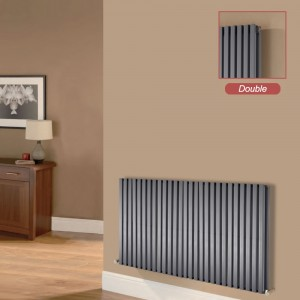 "Ultraheat ""Klon"" Designer Anthracite D-Profile Double Horizontal Radiators (10 Sizes)"