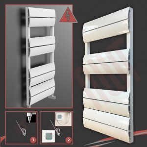 "500mm (w) x 1000mm (h) Electric ""Wave"" White Single Aluminium Towel Rail (Single Heat or Thermostatic Option)"