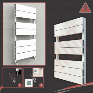 "500mm (w) x 800mm (h) Electric ""Flow"" White Single Aluminium Towel Rail"