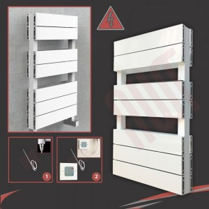 "500mm (w) x 800mm (h) Electric ""Flow"" White Double Aluminium Towel Rail"