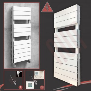 "500mm (w) x 1200mm (h) Electric ""Flow"" White Double Aluminium Towel Rail"