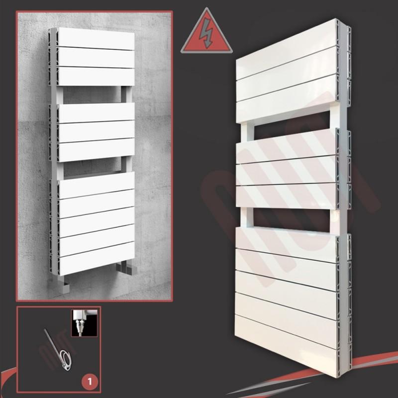 """500mm (w) x 1200mm (h) Electric """"Flow"""" White Double Aluminium Towel Rail"""