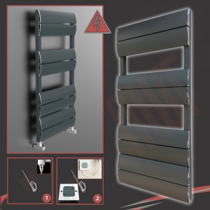 """500mm (w) x 1000mm (h) Electric """"Wave"""" Anthracite Single Aluminium Towel Rail (Single Heat or Thermostatic Option)"""