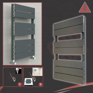 "500mm (w) x 800mm (h) Electric ""Flow"" Anthracite Single Aluminium Towel Rail"