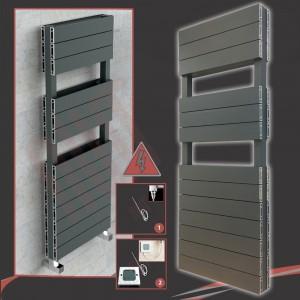 "500mm (w) x 1500mm (h) Electric ""Flow"" Anthracite Double Aluminium Towel Rail"