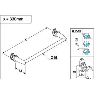 Chrome Straight Towel Bar 450mm