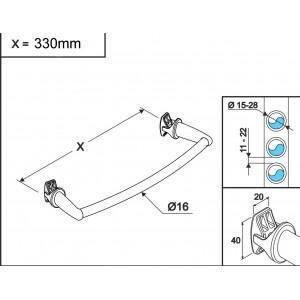Chrome Curved Towel Bar 450mm