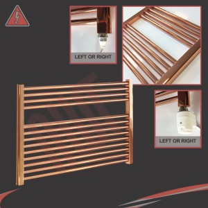 """900mm (w) x 600mm (h) Electric """"Straight Copper"""" Towel Rail (Single Heat or Thermostatic Option)"""