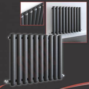 780mm (w) x 600mm (h) Circolo Anthracite Horizontal Radiator