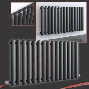 1180mm (w) x 600mm (h) Circolo Anthracite Horizontal Radiator