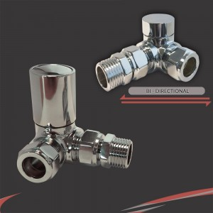 Corner Chrome Valves for Radiators & Towel Rails (Pair)
