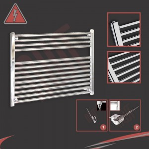 900mm (w) x 600mm (h) Electric Straight Chrome Towel Rail (Single Heat or Thermostatic Option)