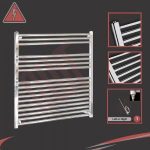 900mm (w) x 900mm (h) Electric Straight Chrome Towel Rail (Single Heat or Thermostatic Option)