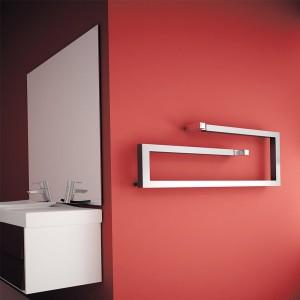 "400mm (w) x 1000mm (h) Carisa ""Klips"" Brushed Stainless Steel Designer Towel Rail"