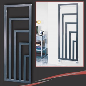 "520mm (w) x 1460mm (h) ""Ramona"" Anthracite Designer Radiator, Towel Rail (6 L-Shaped Sections)"