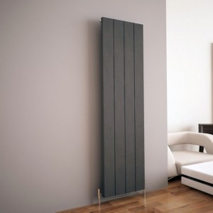 "Carisa ""Elvino"" Metallic Grey Aluminium Flat Panel Vertical Designer Radiators (2 Sizes)"