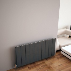 "Carisa ""Elvino"" Metallic Grey Aluminium Flat Panel Horizontal Designer Radiators (3 Sizes)"
