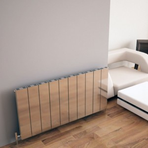 "Carisa ""Elvino"" Polished Anodised Aluminium Flat Panel Horizontal Designer Radiators (3 Sizes)"