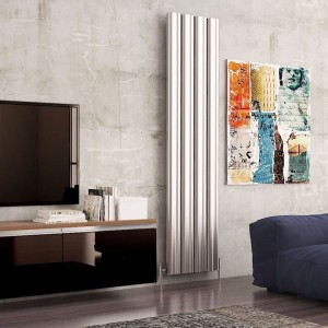 "Carisa ""Wave"" Polished Anodised Aluminium Vertical Designer Radiators (2 Sizes)"
