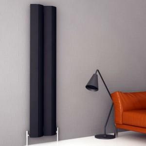 """Carisa """"Nixie"""" Black Aluminium Designer Vertical Radiators (2 Sizes)"""