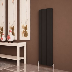 "Carisa ""Nemo Double"" Black Aluminium Flat Panel Designer Radiators (8 Sizes)"