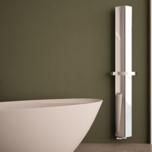 "Carisa ""Nixie Bath"" Polished Anodised Aluminium Vertical Designer Radiators & Chrome Towel Bar (3 Sizes)"