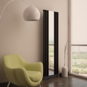 """550mm (w) x 1800mm (h) Carisa """"Tallis Mirror"""" White Aluminium Designer Vertical Mirror Radiator"""