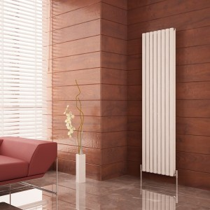 "Carisa ""Tallis Double"" White Aluminium Oval Tube Designer Vertical Radiators (2 Sizes)"
