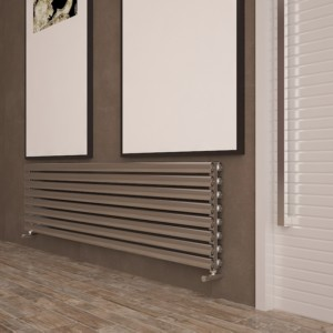 "Carisa ""Tallis Double"" Polished Anodised Aluminium Oval Tube Designer Horizontal Radiators (2 Sizes)"