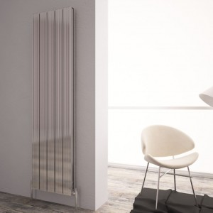 "Carisa ""Monza Double"" Polished Anodised Aluminium Designer Vertical Radiators (3 Sizes)"