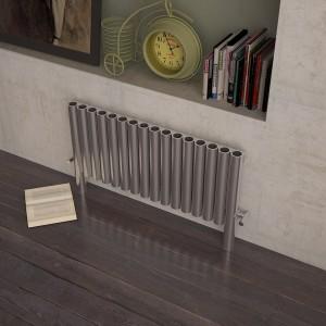 "Carisa ""Fortuna"" Brushed Stainless Steel Designer Horizontal Floor Standing Radiators (3 Sizes)"