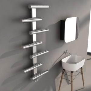 "500mm (w) x 1000mm (h) Carisa ""Vivi"" Brushed Stainless Steel Designer Towel Rail"