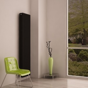 "Carisa ""Tubo"" Black Aluminium Vertical Modern Column Designer Radiators (3 Sizes)"