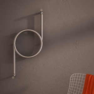"""400mm (w) x 80mm (h) Carisa """"Crux"""" Brushed OR Polished Stainless Steel Designer Towel Rail / Radiator"""