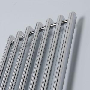 "390mm (w) x 1760mm (h) ""Titan"" Curved Chrome Vertical D-Profile Designer Radiator"
