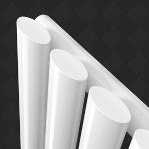 630mm (w) x 1800mm (h) Brecon White Oval Tube Vertical Radiator - Close up