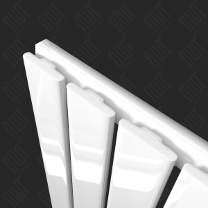 "440mm (w) x 1250mm (h) ""Corwen"" White Flat Panel Vertical Radiator (6 Sections)"