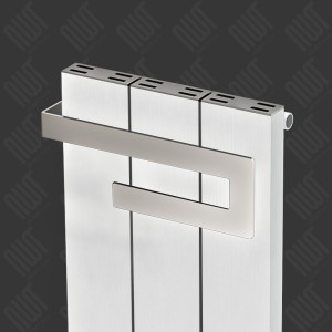 "370mm (w) x 800mm (h) Carisa ""Elvino Bath"" White Aluminium Designer Radiator + Chrome Towel Bar"